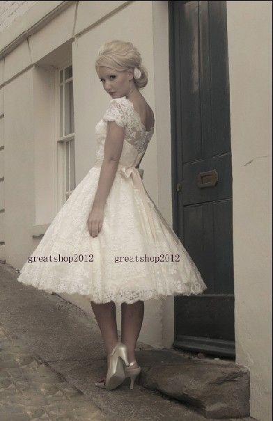 Cap- Ärmel Lace Jewel Schärpe mit Bogen Kurze Hochzeitskleid | eBay