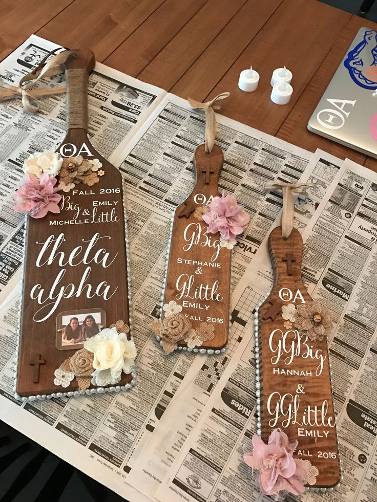 Sorority Paddle Theta Alpha Paddle Ideas Greek  Christian Big and Little Pearls Burlap Rustic Paddle College University of Florida UF
