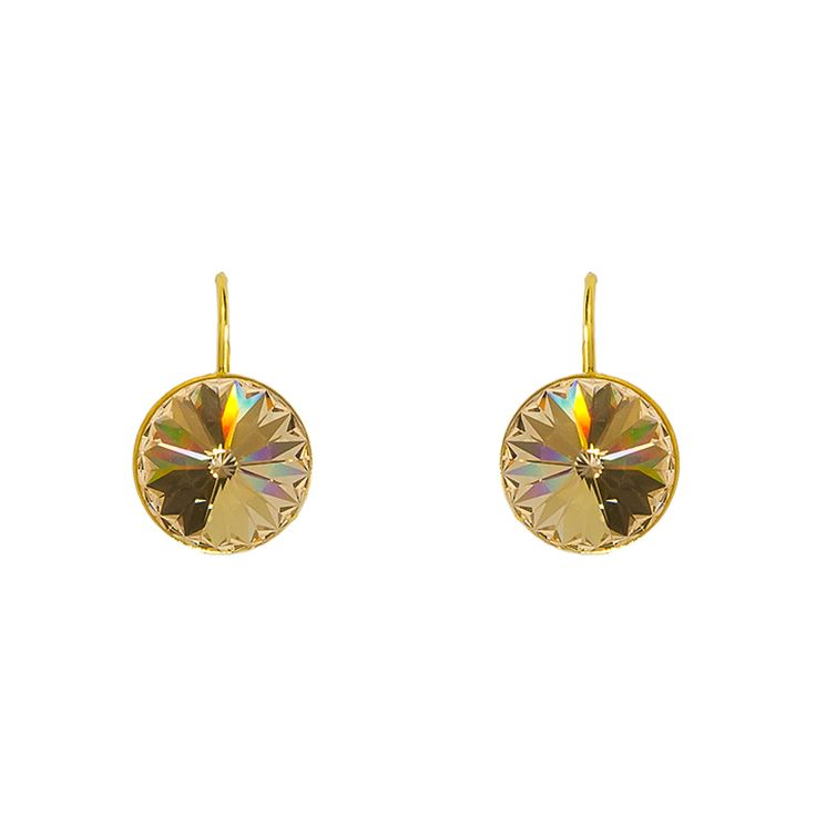 Disc Earrings (Silk) - Small yet bold, these disc earrings in modern golden shade will go with practically everything.