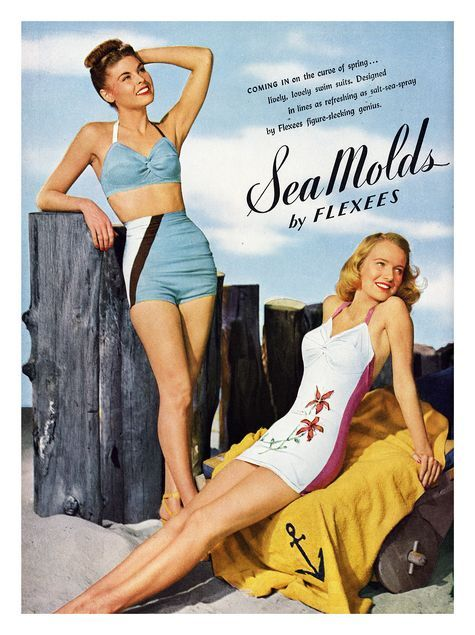 """1940s women's bathing suits Sea Molds by Flexees. Women's bathing suits """"as refreshing as salt-sea spray."""""""