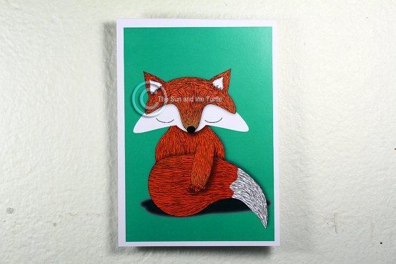 Limited edition Illustrated Fox Postcard by thesunandtheturtle, $2.50