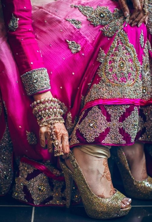 pink indian bridal lehenga + shoes