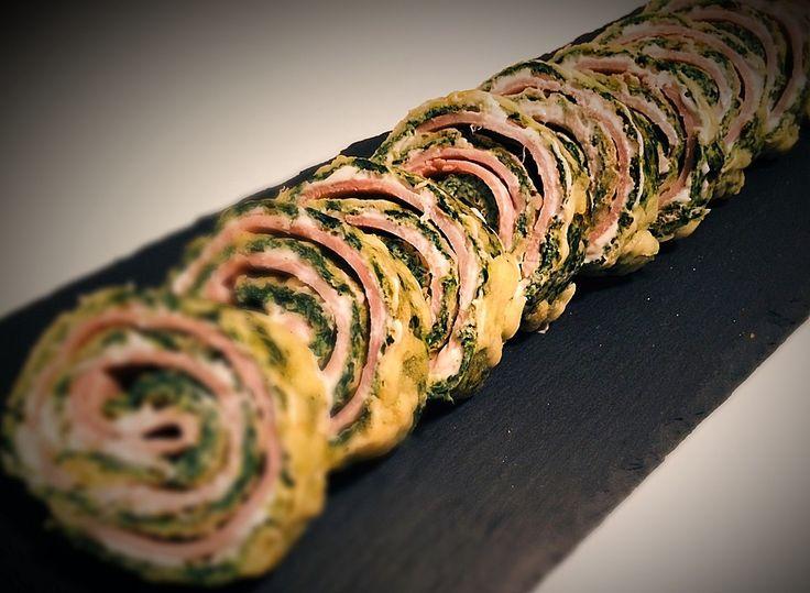 Übernommen - Low-Carb Spinatrolle mit Frischkäse und Kochschinken