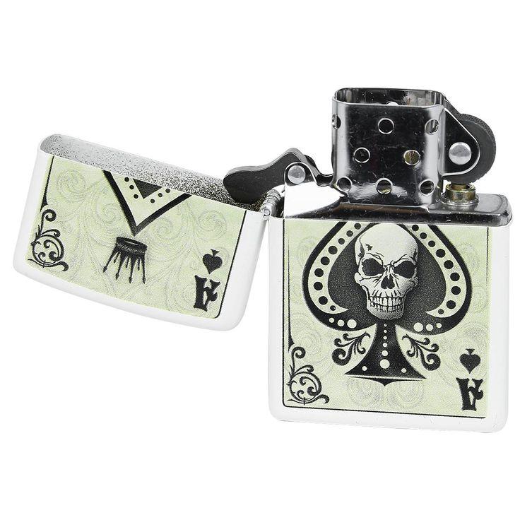 """#Zippo originale a benzina """"Ace Of Spades - Skull"""" del brand Spiral. Per motivi ti sicurezza, l'accendino viene consegnato scarico."""