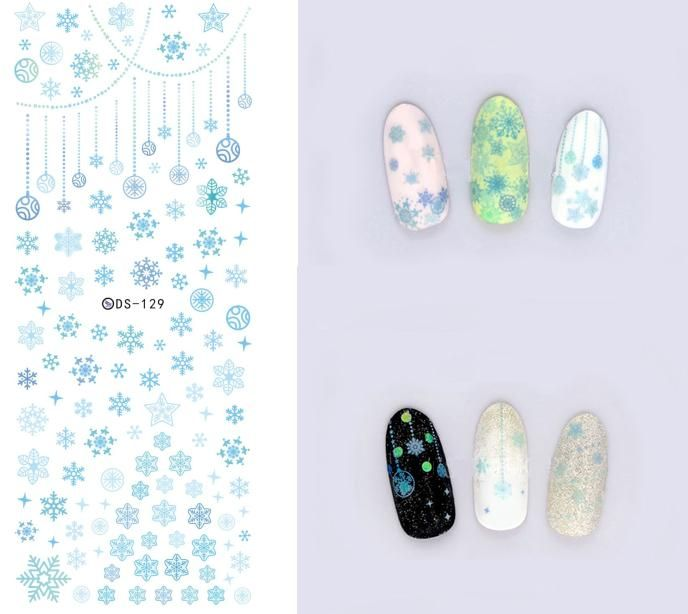 DS129 Fashion Air Transfer Kuku Art Sticker Biru Snowflake Sedikit Elemen Nail Wrap Sticker Tip Manicura nail foil transfer