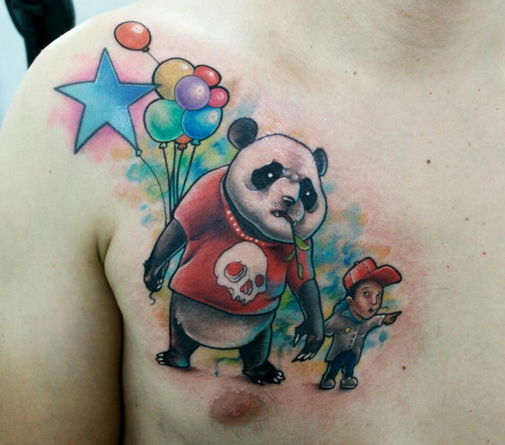 New school tattoo panda