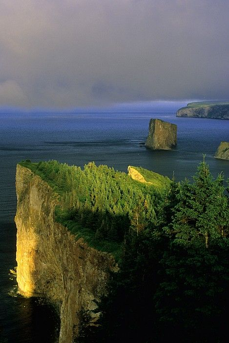 ☀Evening Light And Fog, Perce Gaspe, by John Sylvester ~ Quebec Canada