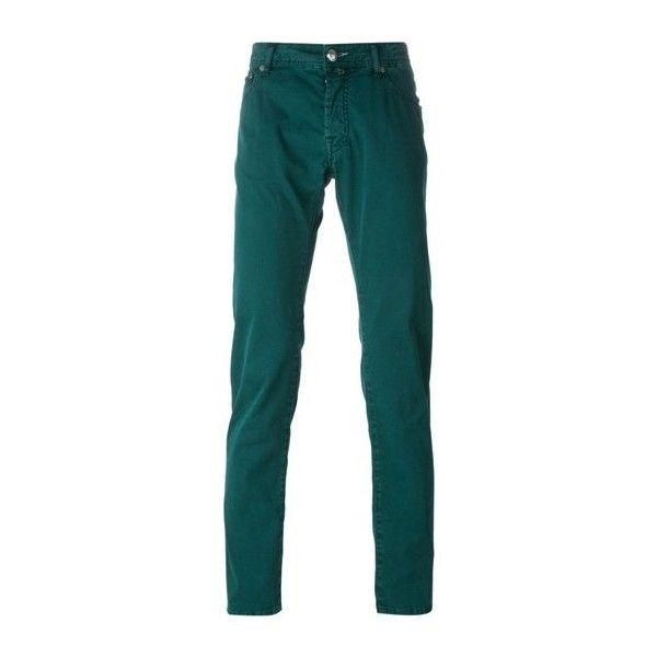 JACOB COHEN Green Cotton Jeans ($208) ❤ liked on Polyvore featuring men's fashion, men's clothing, men's jeans, green, mens green jeans, mens cotton jeans and mens vintage jeans