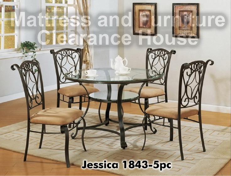 49999 Jessica Etched Glass 5 Piece Dining Set 1843 5PC SET This