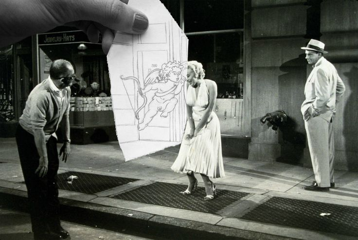 Black and white film still of Marilyn Monroe with cupid illustration