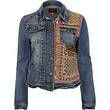 Blue half embellished stud denim jacket - jackets - coats / jackets - women