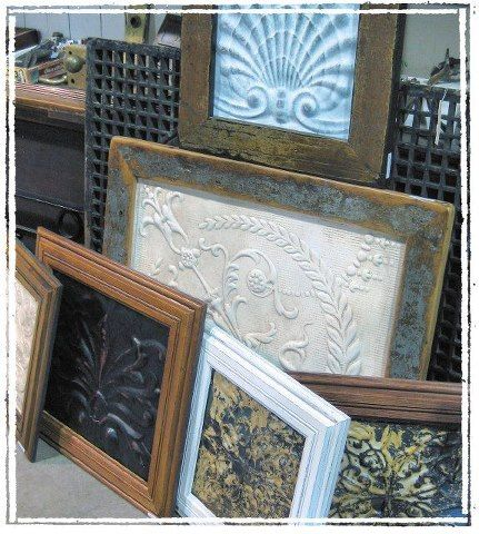 Ceiling Tile ~ Framed. Use as wall art, a mirror or photo frame.