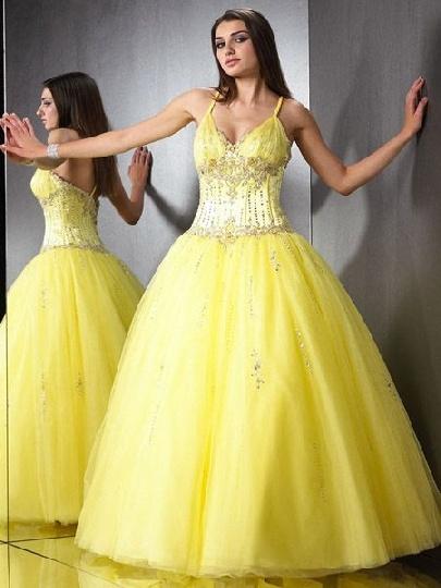 Yellow Cinderella Prom Dresses 6