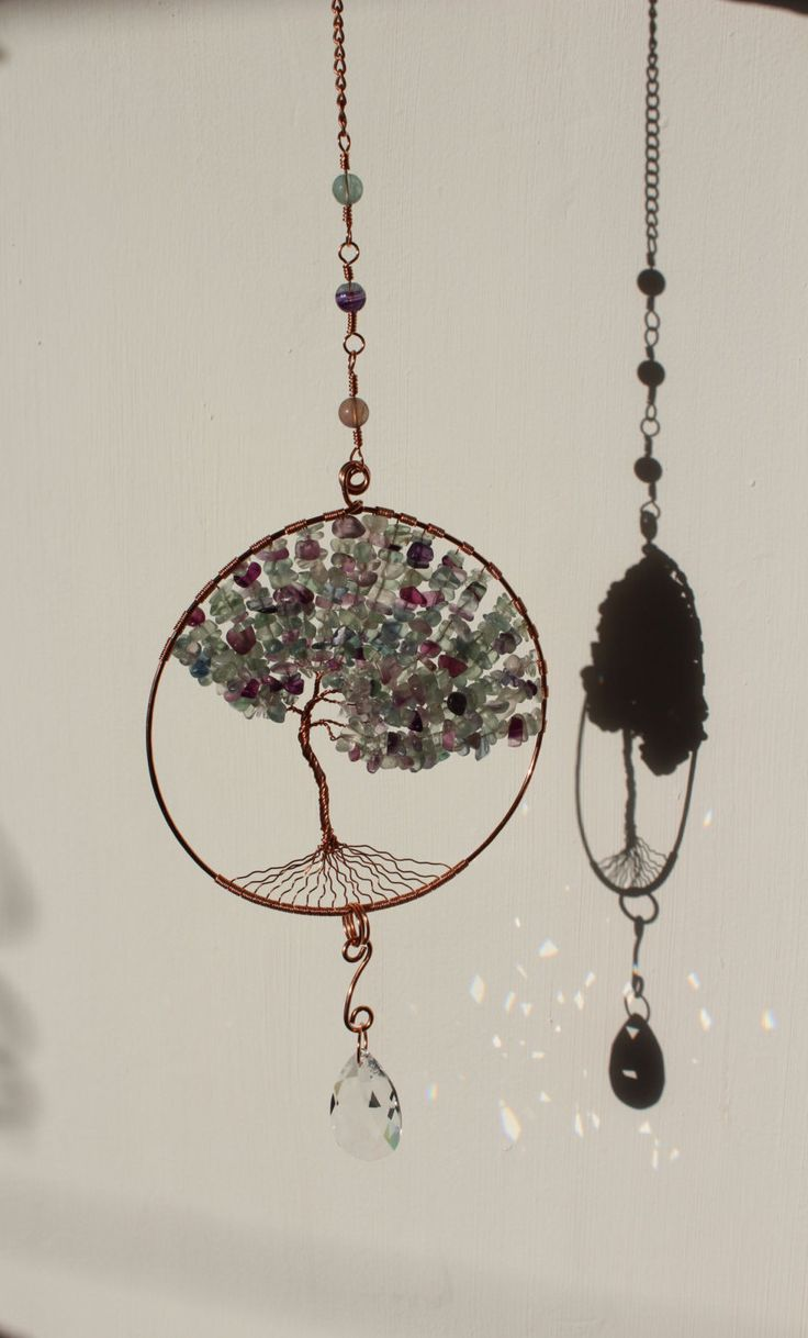 Extra Large Fluorite Copper Tree Of Life Crystal Suncatcher- Swarovski Crystal Prism -Window Rainbow Maker -Garden ornament -Wire Wrap Art by ElementalRoseDesigns on Etsy