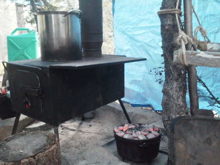 In between our adult wilderness survival camps this last August 2015, the weather turned cold so we brought out the wood stove to keep our toes warm while cooking up something yummy in the Dutch oven.