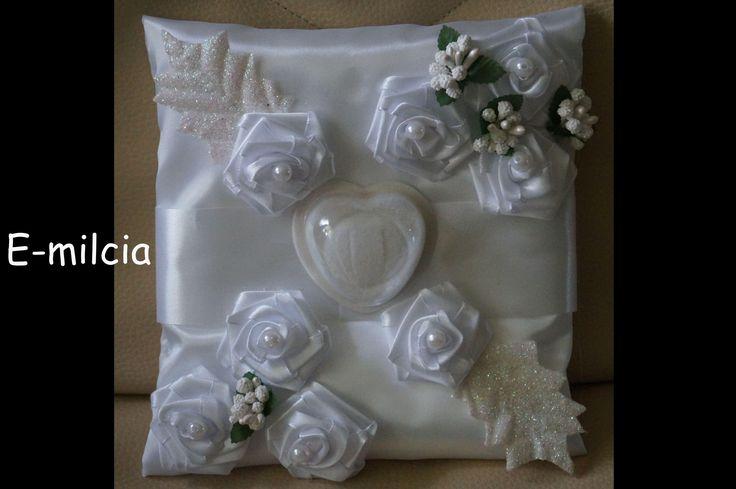 Poduszka na Obrączki .... Ślub, I Komunia Św.,  Biel i zieleń , Wedding Poduszka na obraczki, poduszki