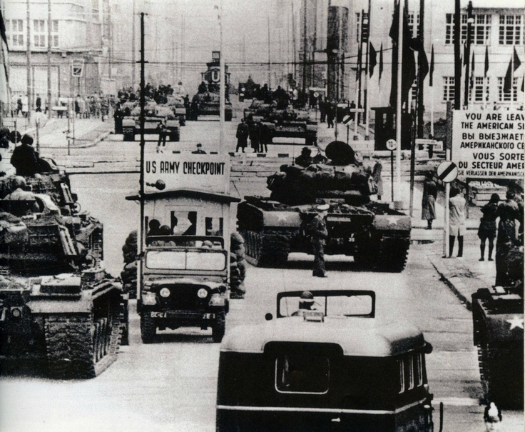Soviet and American tanks face off at Checkpoint Charlie during the Berlin Crisis, October 1961