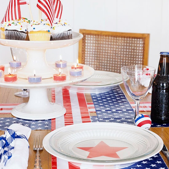 Table Setting: Red, White & Blue Accents