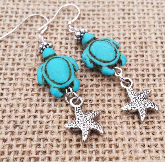 Earrings, Turtle Earrings, Boho Earrings Howlite Turquoise Sea Turtle Earrings Beachy Boho Beach Hipster Gifts For Her #turtles #turtlejewelry #earrings #womensearrings #giftsforher