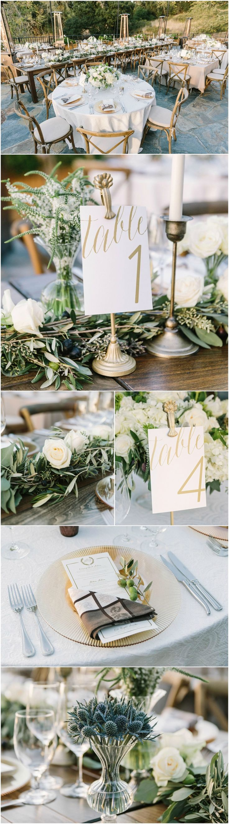 Winery wedding, candlesticks, gold table numbers, dishtowel napkins, seeded eucalyptus, cross back chairs, blue thistle // The Edges Wedding Photography