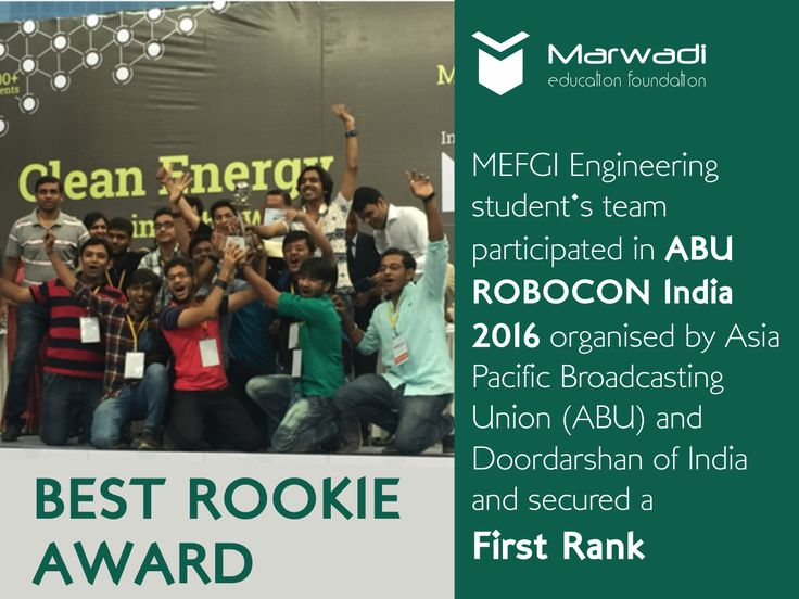 """ABU ROBOCON India 2016 is an Indian contest of Robocon International 2016, organised by Asia Pacific Broadcasting Union (ABU) and Doordasrshan of India, which is a platform to innovate and excel in creative thinking and to demonstrate their technical ideas in robotics. A team of students of various branches of #MEFGI participated and secured a """"First rank"""". The team received 'Best Rookie Award'.   #Awards #ABURobocon #FirstRank #MEFGI  ====== https://goo.gl/35tI85 ======"""