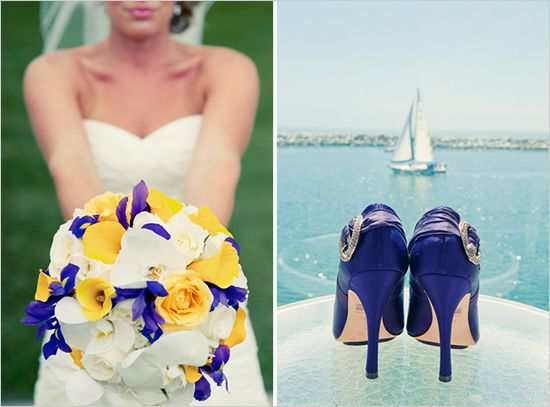 Yellow and Purple wedding. The bouquet is kind of perfect, and I like the idea of purple shoes (just maybe not those ones!)