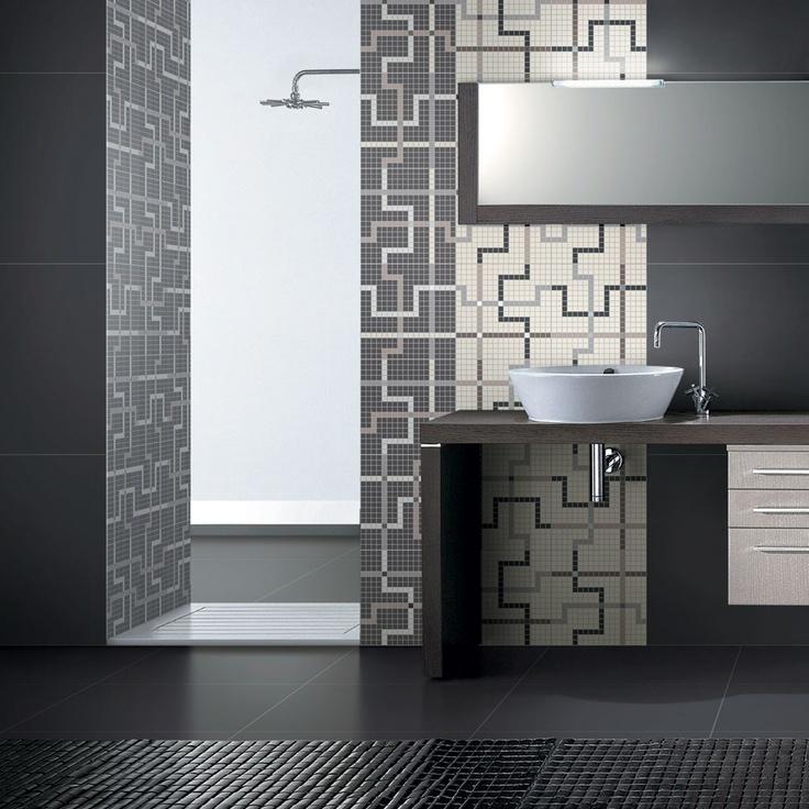 T.U. - Warm Black-Warm White + Loop Mosaic  #coem #ceramichecoem #T.U. #white #black #MaisonObjet2013 #paris #influences #design #exhibition #home #homedesign #18to22January2013 #madeinitaly #gresporcellanato #porcelainstoneware #tiles #stonestiles #bathroom #wall #covering #floor #indoor #mosaic #ecology #eco #green