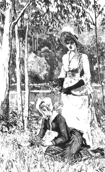"""""""Christmas Belles"""" - the ladies are gathering an Australian native flower called 'Christmas bells' - from The Illustrated Sydney News   December 1886"""