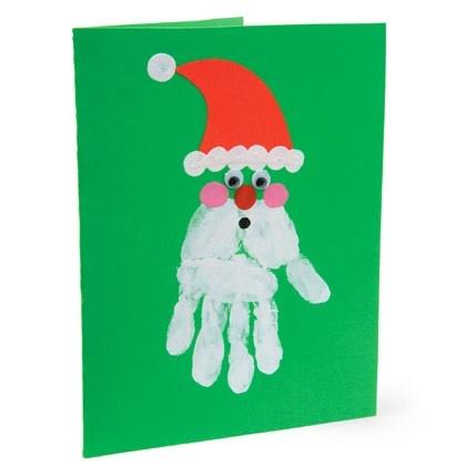 Santa hand print card