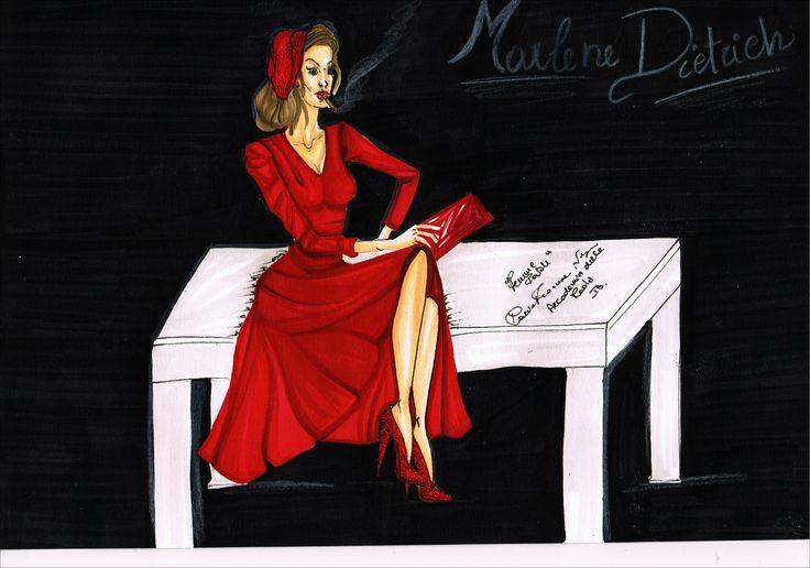 Fashion drawing. Marlene Dietrich. Femme Fatele. Nigro