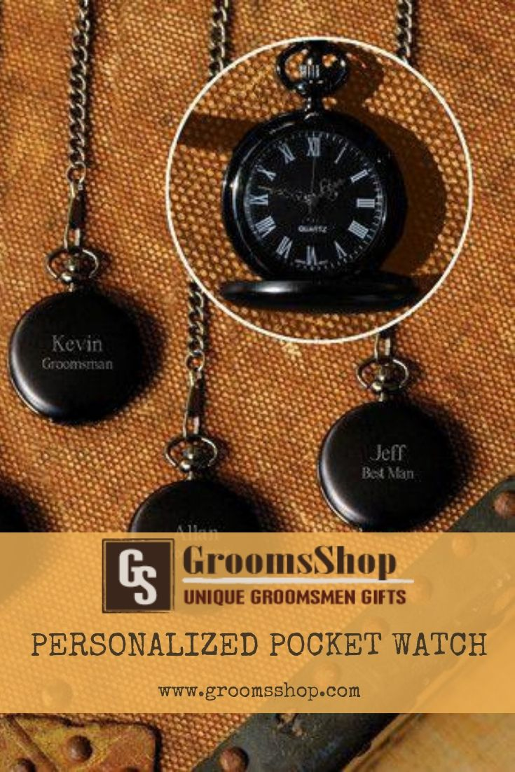 e6d422054 Handsome and a little bit mysterious, our Personalized Midnight Pocket Watch  is a classic groomsmen