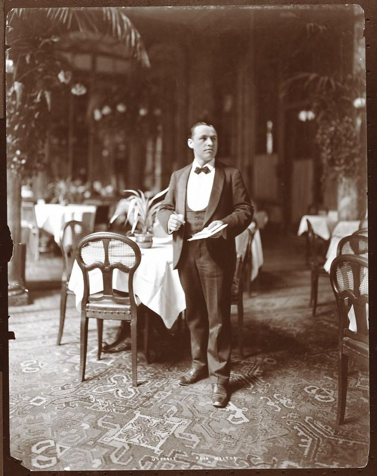 "Gilded Age era, in NYC. Head waiter at Sherry's Restaurant, c.1902. A popular eatery for the ""400"", high society of the era. ~ {cwl}"