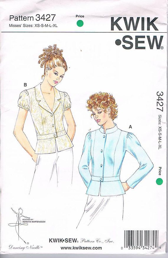Kwik Sew 3427 Missed Fitted Unlined Jackets with Peplum and