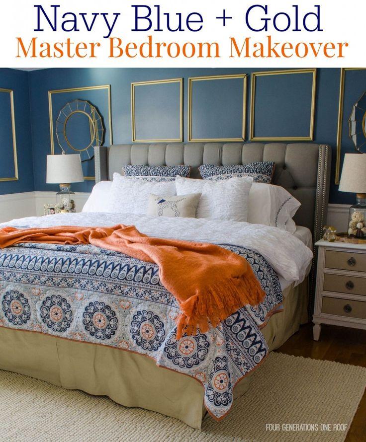 Gorgeous Navy Blue   Gold Master Bedroom makeover. 17 Best ideas about Orange Bedroom Walls on Pinterest   Navy