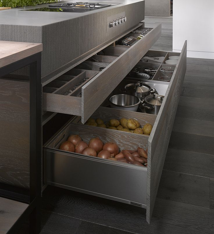 Storage drawers in Roundhouse bespoke kitchen as seen in Clapham showroom