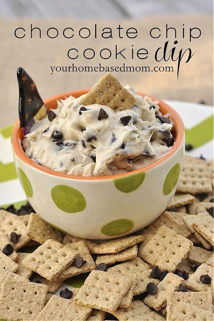 Chocolate chip cookie dip - 1/2 C butter 1/3 C brown sugar 1 1/2 tsp vanilla 1 8 oz. pkg. cream cheese 1/2 C powdered sugar 3/4 C mini chocolate chips