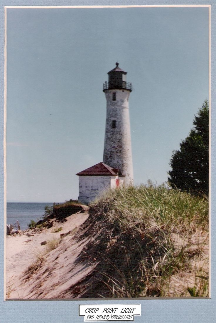 "Crisp Point Light, Two Heart - Vermillion, on the shore of Lake Superior.  Take M123 out of Paradise.  Keep going west to Northwestern Rd.(County Rd 500); Northwestern eventually becomes Little Lake Harbor Rd(still 500). Keep going north to Rd 412; take 412 to the right.  412 should also be named Crisp Point Rd.  Take 412 to the lighthouse. Designated as  ""one of the most remote lighthouses in the United States"". The winter after this shot was taken the access bldg was lost to shore erosion."