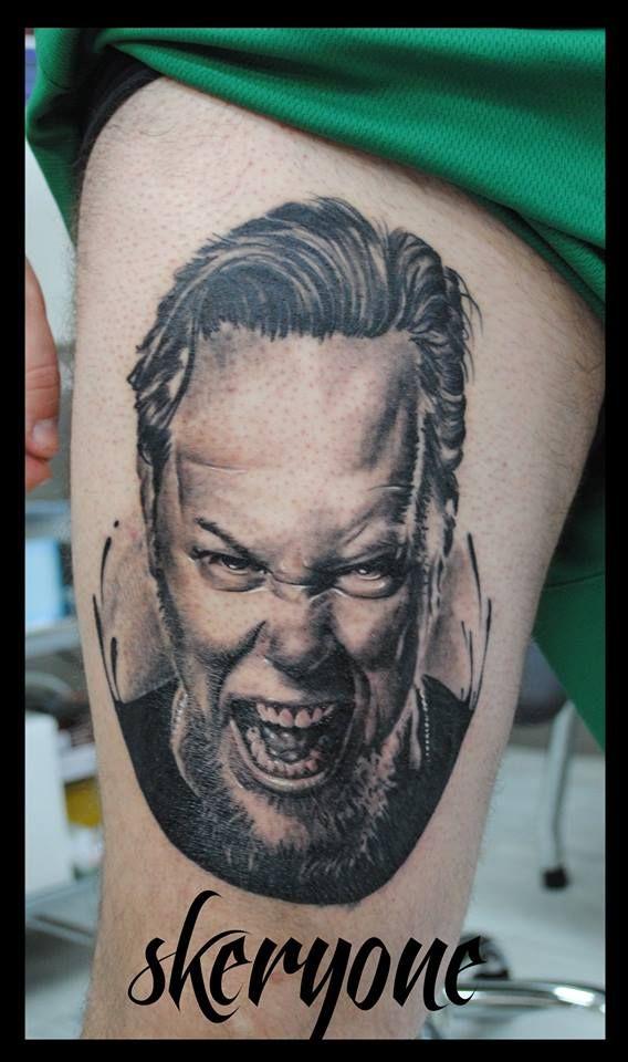 James Hetfield realistic black and grey portrait by SKERYONE