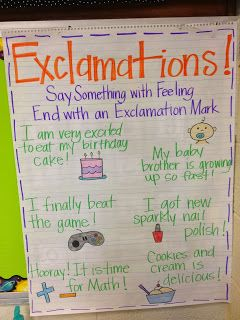 Exclamations Anchor Chart   This could be a poster you make with your class when learning when and how to use exclamation marks. You can use students examples to make the poster more meaningful to them.
