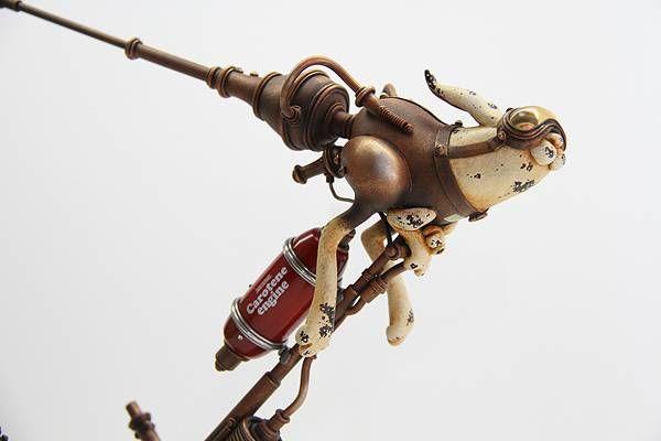古いのに新しいスチームパンクな動物達の彫刻作品 - 06