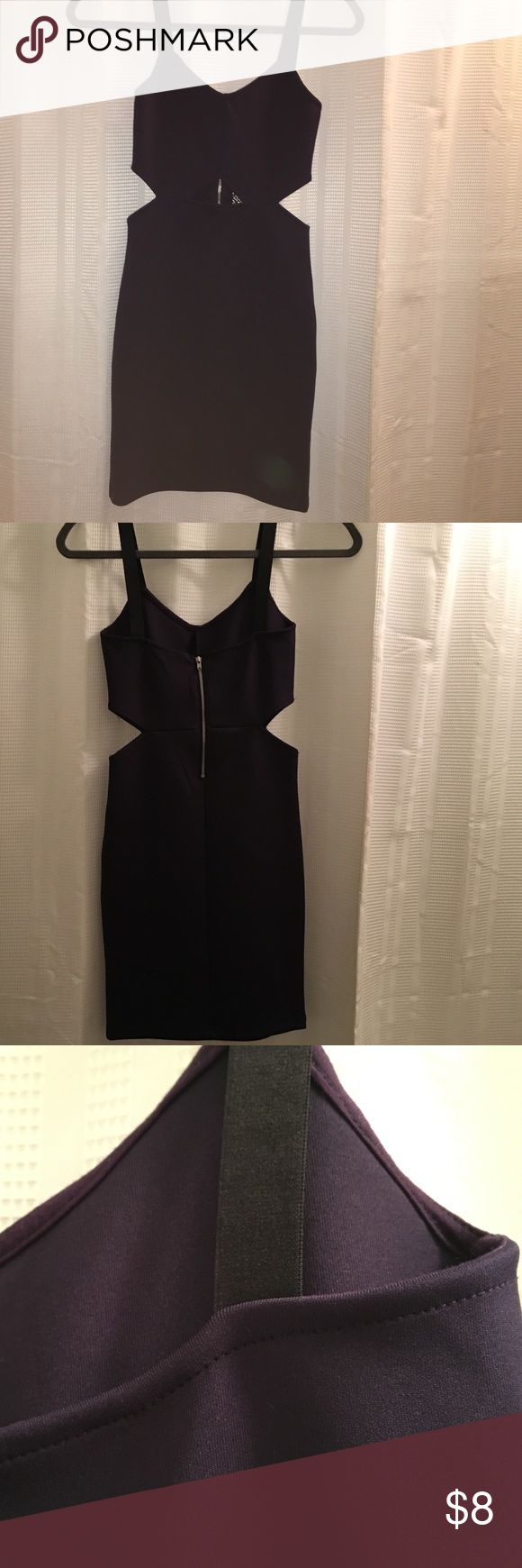 Dark purple body con dress with cut outs Body con dress with cuts outs. It's dark purple with black straps. Never worn and in perfect condition H&M Dresses Mini