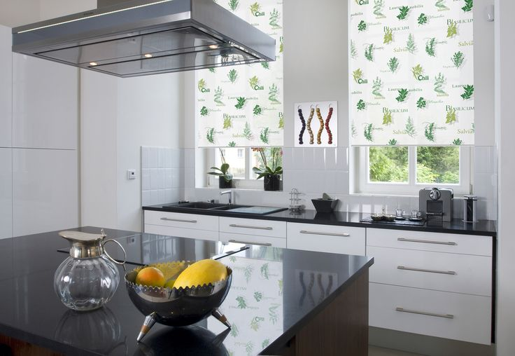 This delicate sage green roller blind will enhance other hues throughout your kitchen. A great alternative to grey. http://www.blindsboutique.co.uk/herb-garden-basil-roller-blinds.html