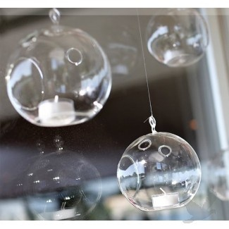 Koyal Wholesale.  Hanging Glass Ball Candle Holder. $7.50/Holder. Hang from chandelier. (I am good!)
