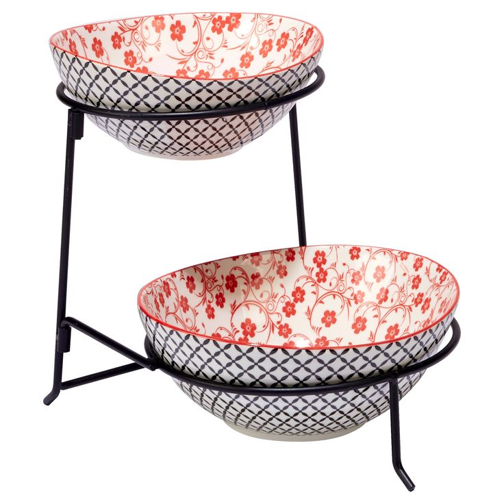 Certified International Chelsea Mix & Match Porcelain and Metal 2-Tier Server with Oval Bowls Red