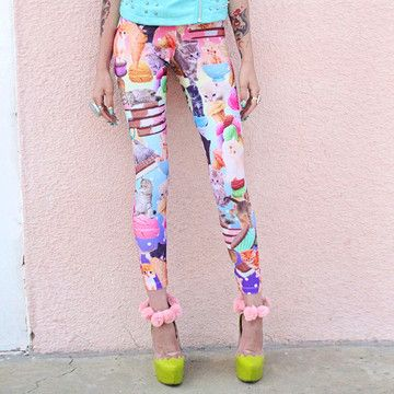 Kittens And Ice Cream Leggings...I feel like I would wear these...in the safety of my home most likely. :)