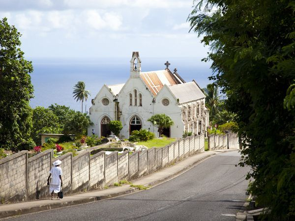On the east coast, ocean-borne breezes waft right through whitewashed St. Joseph's Parish Church, which was damaged by two hurricanes and rebuilt in the 1830s.