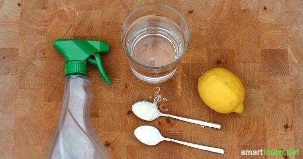 Natron-Allzweckreiniger im Handumdrehen selbst herstellen (1 TL Natron, 1 TL geriebene Kernseife, 1 Spritzer Zitronensaft, ätherisches Öl optional, 1 Tasse warmes Wasser)