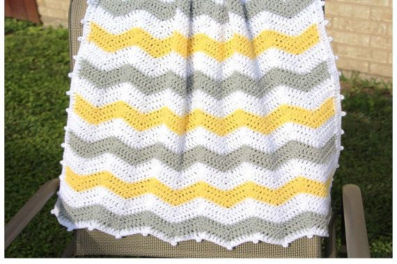 Yellow and Gray Chevron Baby Blanket Chevron Crochet by CCBR2014