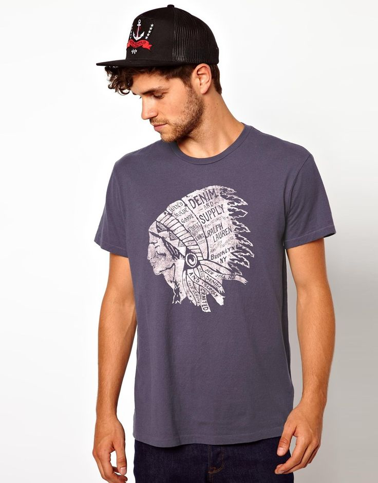 Ralph Lauren - Blue Denim Supply Ralph Lauren Tshirt with Native American  Head Print