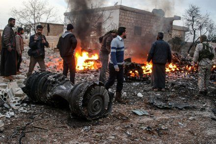 Russian Warplane Shot Down in Syria by Rebels Defense Ministry Says